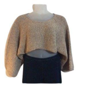 Simply Greta Tan Woven Crop Sweater w/Bell Sleeves